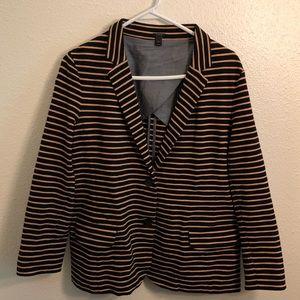 J.Crew Womens Sz XL Blazer Striped Navy Gold